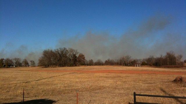 Harrah Grassfire Threatened Homes, Residents Evacuated