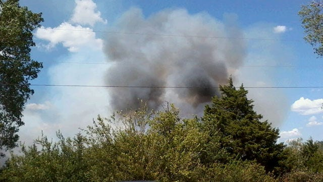 Crews Battle Wildfire In Mustang