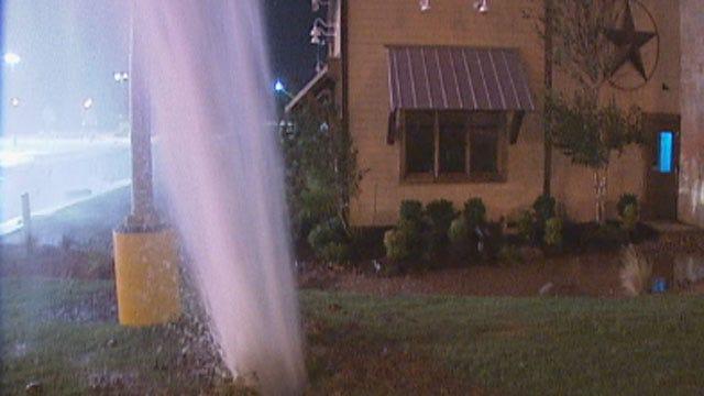OKC Large Water Main Break Sends Water Gushing Into Air