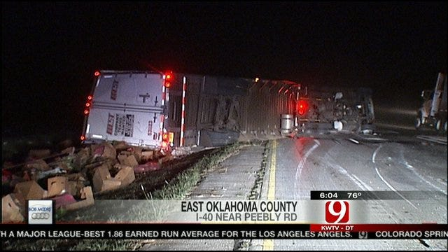 Semi Accident Covers I-40 In Lettuce