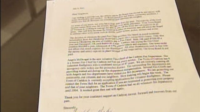 Letter From Cashion Mayor Offers Some Answers About Fire Chief Controversy