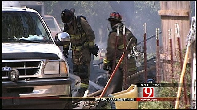 Southwest OKC Fire, Blazing Temps Tax Firefighters