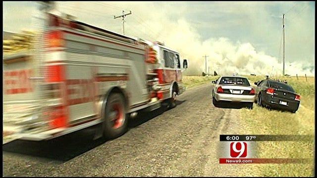 SW OKC Grass Fire Fought By Four Agencies