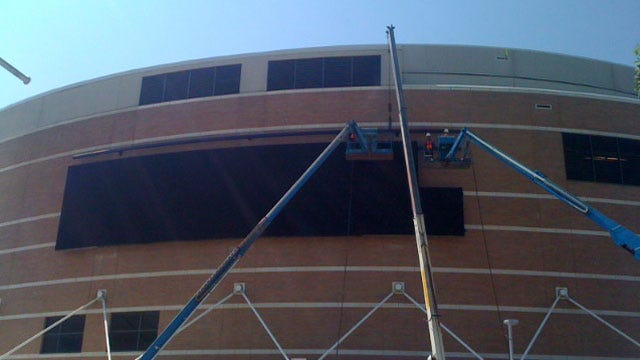 Huge Video Board Almost Complete At Oklahoma City Arena