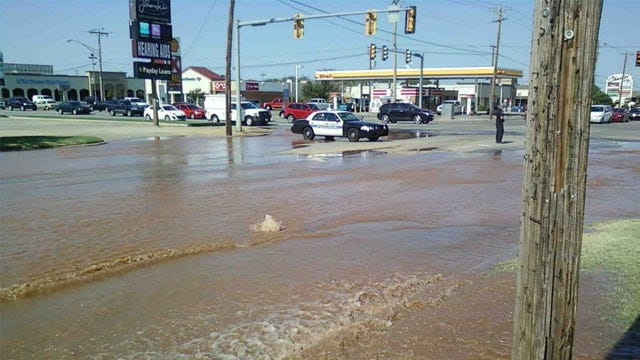 Water Main Break Disrupts OKC Traffic On North May