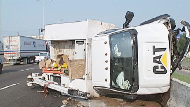 Utility Truck Flips Near Downtown OKC