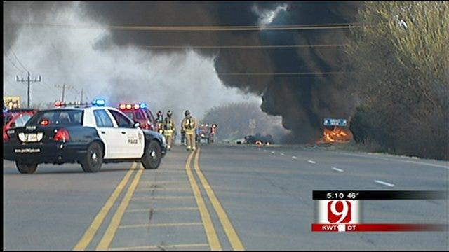 Crews Repair Road In N.W. OKC Where Crash Ignited Explosion