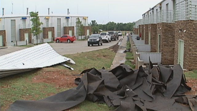 Severe Storms Rip Off Apartment Complex Roof In N.W. OKC