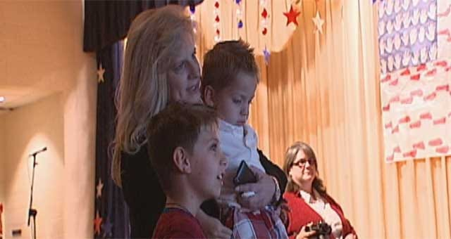 Soldier Surprises Son With Skype Call At Norman Elementary School