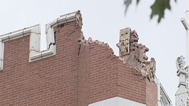 Earthquake Damages Historic Building At University In Shawnee