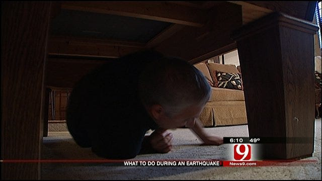 News 9's Ed Murray Demonstrates What To Do During Earthquake