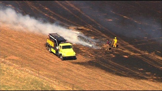 Large Hay Fire Burns In El Reno