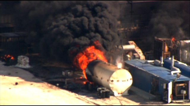 People Return Home Following Watonga Natural Gas Rig Explosion