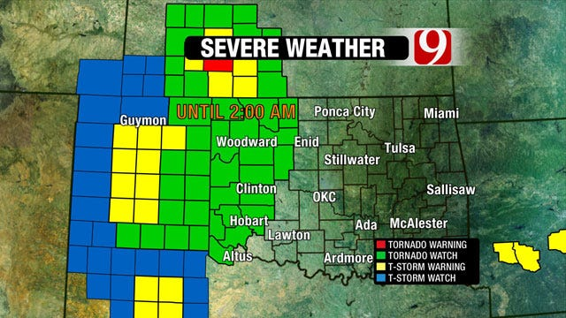 Tornado Warning, Watch Issued In Western, Northern Oklahoma