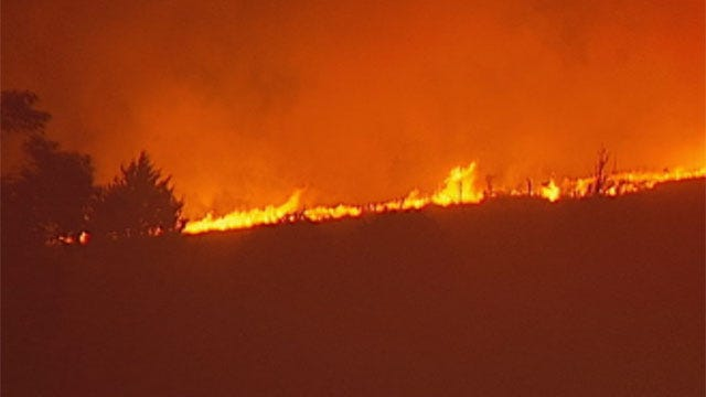 Wind, Dry Conditions Fuel Wildfire Near Geary