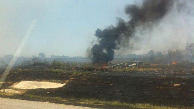 Crews Battle Grass Fire In Shawnee