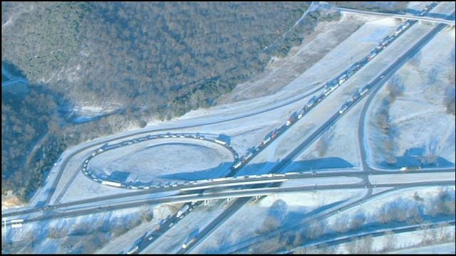 Light Snow, Ice In Southern Oklahoma Tie Up Traffic On I-35