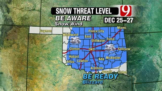 Threat Increasing Of Christmas Blizzard In Oklahoma