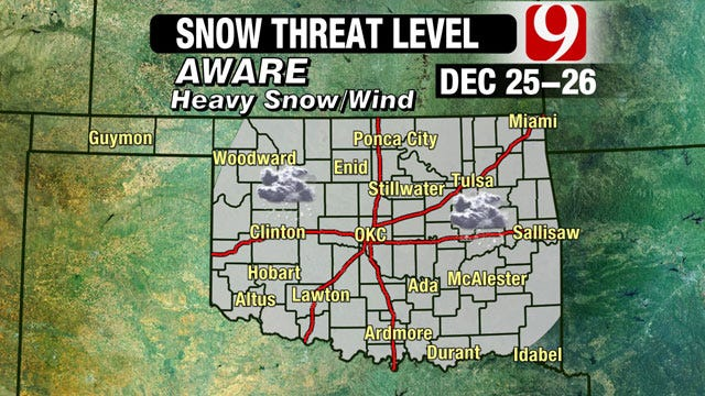 Blizzard In Oklahoma On Christmas, Day After Still Possible