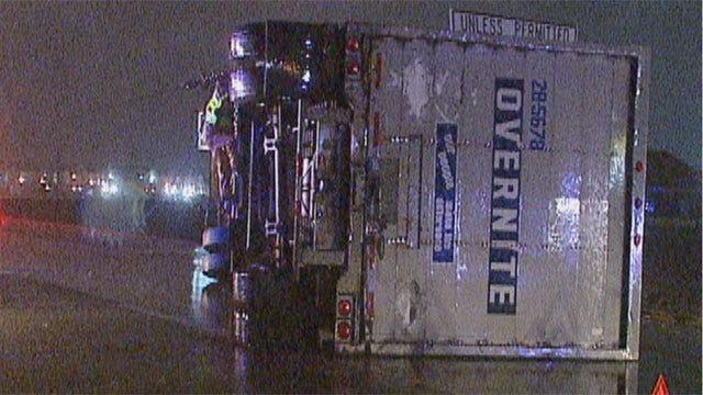Semi Overturns On Wet Highway In OKC