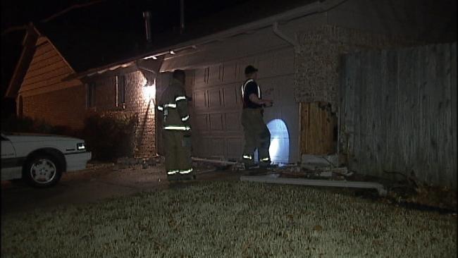 Stolen Car Hits Tulsa House; Driver, Passengers Get Away