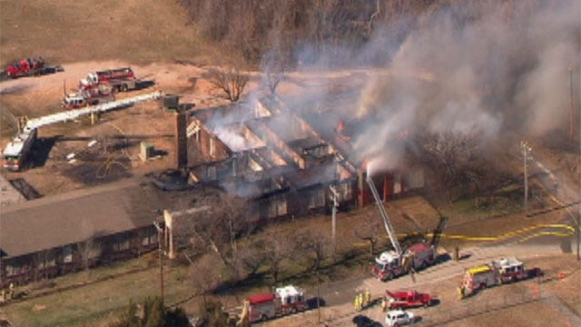 Fire Sweeps Through Abandoned High School In Spencer