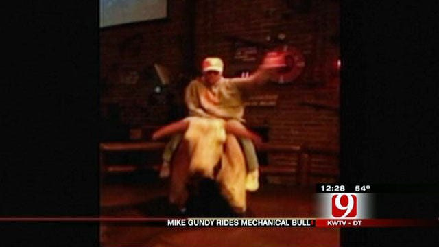 Gundy Channels Inner Cowboy, Rides Mechanical Bull