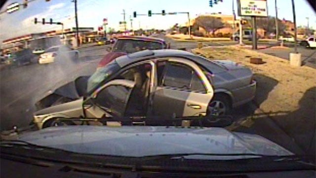 Camera On Bus Captures Crash During Police Chase In Southwest OKC