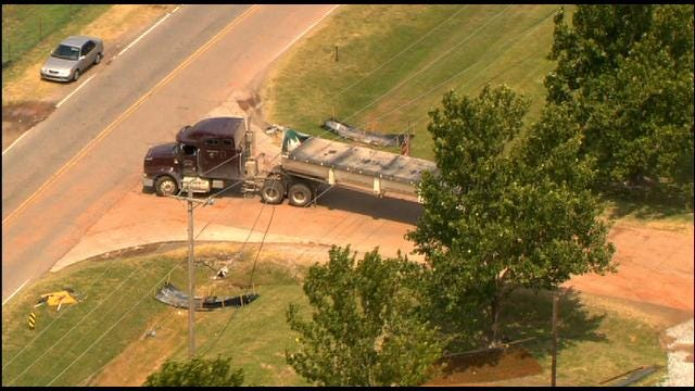 Power Lines Cleared From Entangled Semi In Southwest OKC