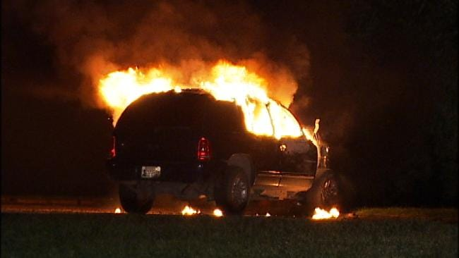 SUV Destroyed By Fire In North Tulsa