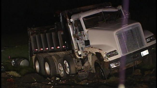 Dump Truck, Semi Truck Crash Backs Up Traffic On Turner Turnpike Near Stroud