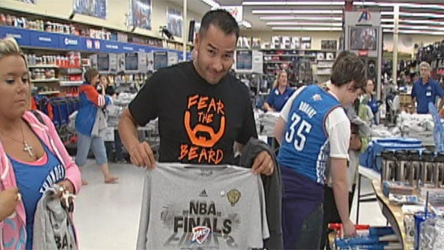 Fans Crowd OKC Stores For Thunder Championship Shirts