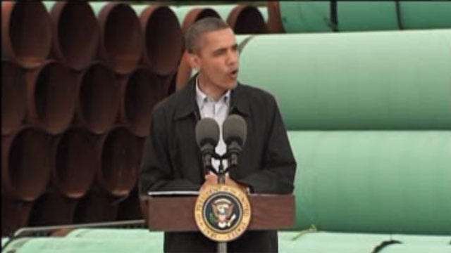 President Tells Cushing Crowd His Administration Will Fast Track Oil Pipeline