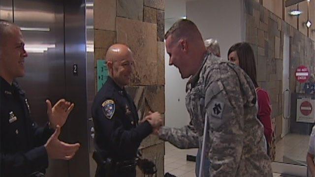 Injured in Afghanistan, Edmond Police Officer Gets Hero's Welcome