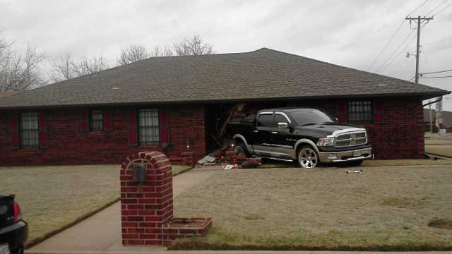 Accident Sends OKC Man's Truck Into His Own House