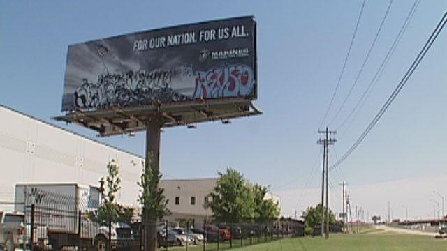 Vandals Target Billboard Honoring Marines In OKC