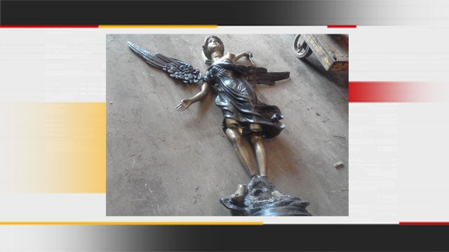 OKC Police Look For Owner Of 5-Foot Tall Brass Angel Statue
