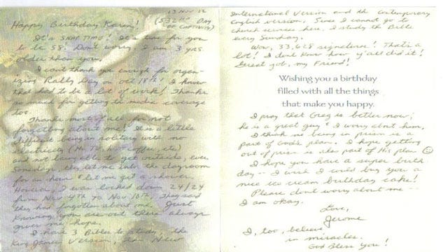Jerome Ersland Sends Birthday Letter To Friend, Describes Life In Prison