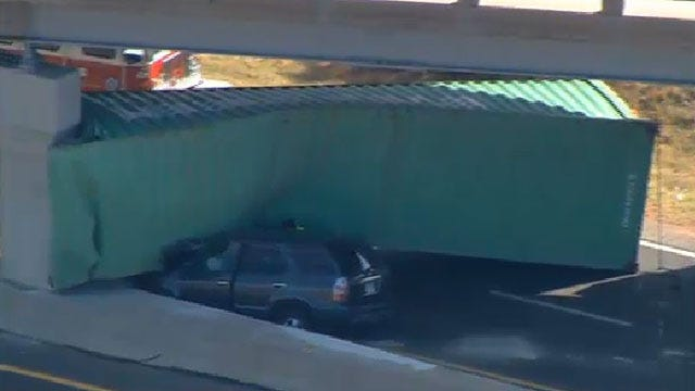 Semi Crashes Into Bridge Near Luther, 3rd Accident In A Month
