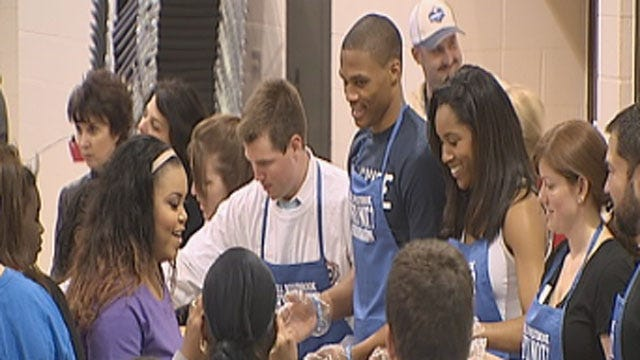 Russell Westbrook Serves Thanksgiving Dinner To Oklahomans In Need