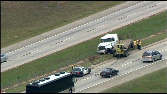 Jackknifed Semi Truck Spills Diesel Fuel Along I-40 In SE OKC