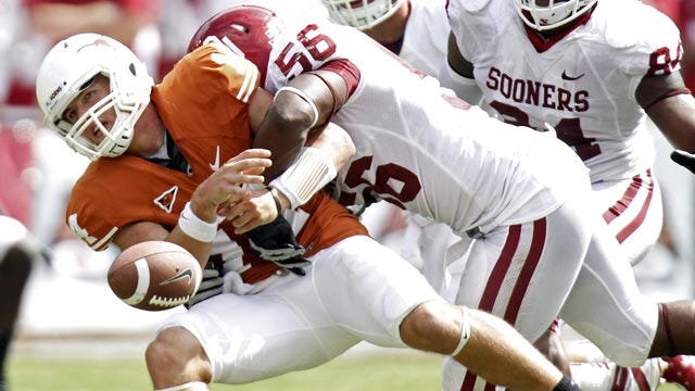 Sooners Know Pressure On Quarterback Is Key To Red River Win