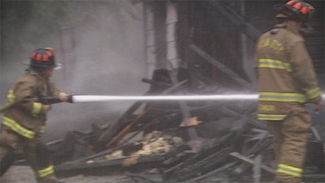 Crews Battle Both Flames, Rain To Put Out Suspicious Fire In Downtown OKC