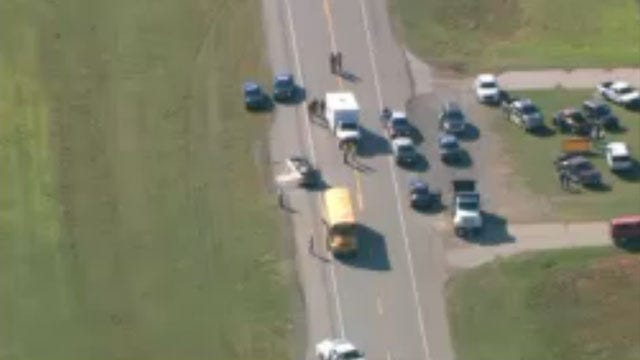 One Killed In Crash Involving School Bus, Pickup Near Chickasha
