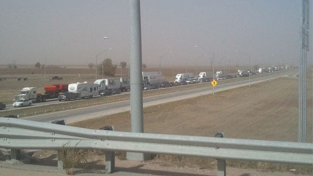 Dust Storm, 30-Vehicle Accident Shuts Down I-35 In Kay County