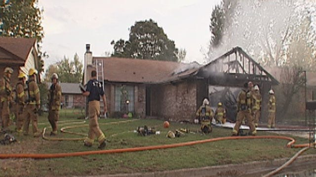 Fire Crews Extinguish House Fire In Midwest City