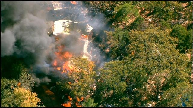 Crews Battle Large House Fire Near Norman