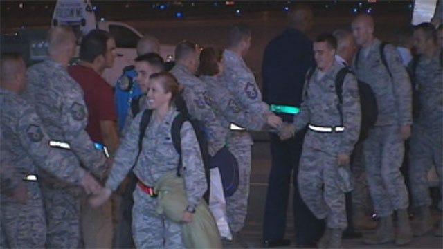 Dozens Of Airmen Return To Oklahoma Following Deployment