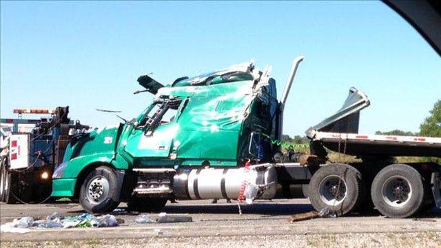 Semi Truck Flips On I-40 In Pottawatomie County