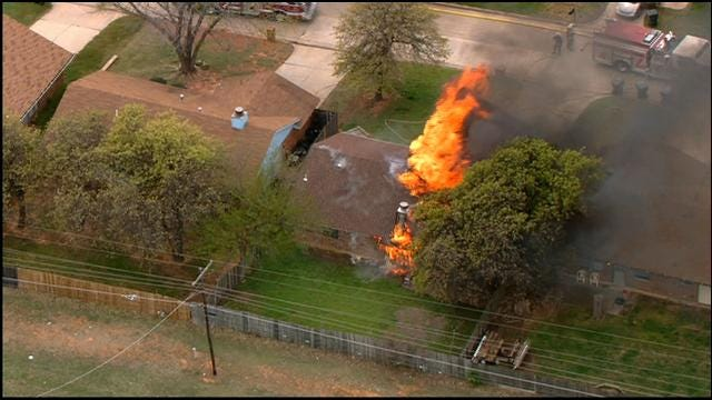 Firefighters Extinguish House Fire In Midwest City